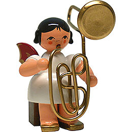 Angel with Contrabass Trombone - Red Wings - Sitting - 6 cm / 2.4 inch