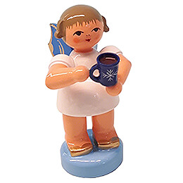 Angel with Cup of Mulled Wine - Blue Wings - Standing - 6 cm / 2.4 inch