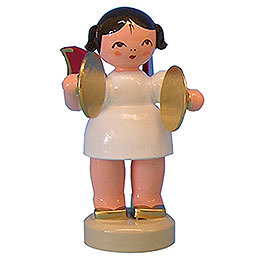 Angel with Cymbal - Red Wings - Standing - 6 cm / 2,3 inch