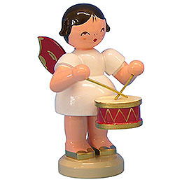 Angel with Drum - Red Wings - Standing - 9,5 cm / 3,7 inch