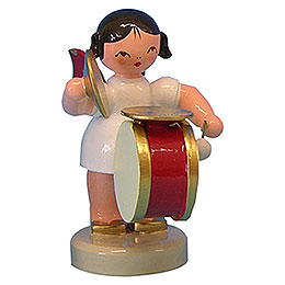 Angel with Drum and Cymbal - Red Wings - Standing - 6 cm / 2,3 inch
