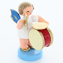 Angel with Drum and Cymbals - Blue Wings - Standing - 6 cm / 2.4 inch