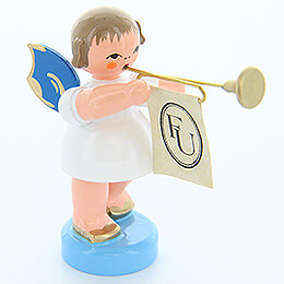 Angel with Fanfare - Blue Wings - Standing - 6 cm / 2.4 inch