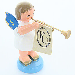 Angel with Fanfare - Blue Wings - Standing - 9,5 cm / 3.7 inch