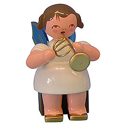 Angel with Flugelhorn - Blue Wings - Sitting - 5 cm / 2 inch