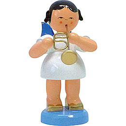 Angel with Flugelhorn - Blue Wings - Standing - 9,5 cm / 3.7 inch