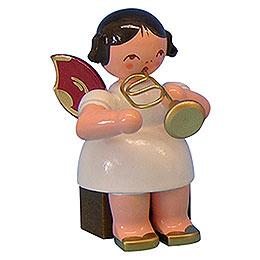 Angel with Flugelhorn - Red Wings - Sitting - 5 cm / 2 inch