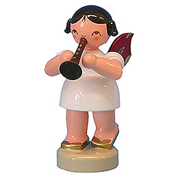 Angel with Flute - Red Wings - Standing - 6 cm / 2,3 inch