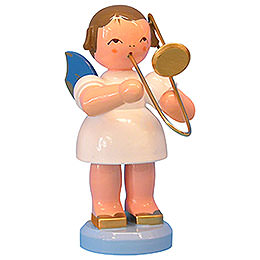 Angel with French Horn - Blue Wings - Standing - 9,5 cm / 3,7 inch