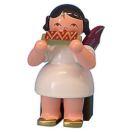 Angel with Harmonica - Red Wings - Sitting - 5 cm / 2 inch