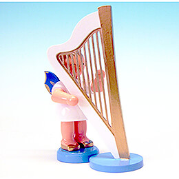 Angel with Harp - Blue Wings - Standing - 9,5 cm / 3.7 inch