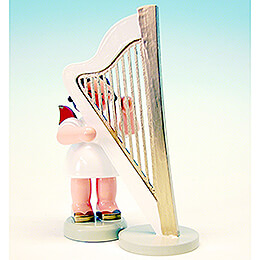 Angel with Harp - Red Wings - Standing - 9,5 cm / 3.7 inch