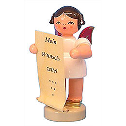 Angel with List of Whishes - Red Wings - Standing - 6 cm / 2,3 inch