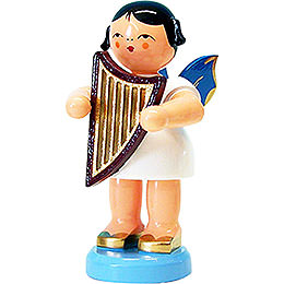 Angel with Lyre - Blue Wings - Standing - 9,5 cm / 3.7 inch