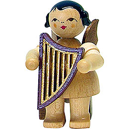 Angel with Lyre - Natural - Sitting - 5 cm / 2 inch