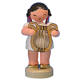 Angel with Lyre - Red Wings - Standing - 6 cm / 2,3 inch