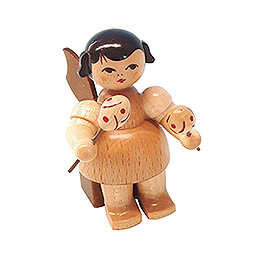 Angel with Maracas - Natural Colors - Sitting - 5 cm / 2 inch