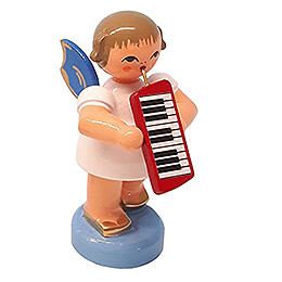 Angel with Melodica - Blue Wings - Standing - 6 cm / 2.4 inch