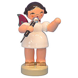 Angel with Microphone - Red Wings - Standing - 6 cm / 2,3 inch