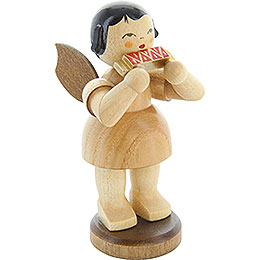 Angel with Mouth Organ - Natural Colors - Standing - 9,5 cm / 3.7 inch