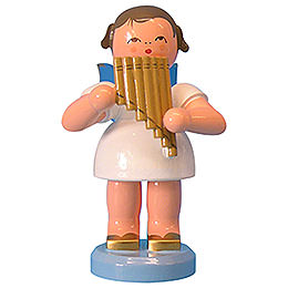 Angel with Pan Pipe - Blue Wings - Standing - 9,5 cm / 3,7 inch