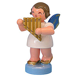 Angel with Panpipe - Blue Wings - Standing - 6 cm / 2,3 inch