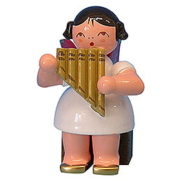 Angel with Panpipe - Red Wings - Sitting - 5 cm / 2 inch