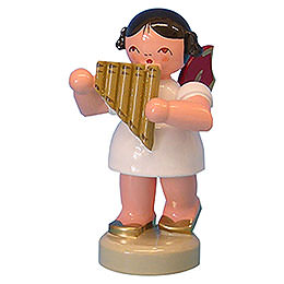 Angel with Panpipe - Red Wings - Standing - 6 cm / 2,3 inch