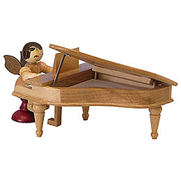 Angel with Piano - Natural Colors - Sitting - 6 cm / 2,3 inch