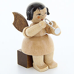 Angel with Piccolo Trumpet - Natural Colors - Sitting - 5 cm / 2 inch