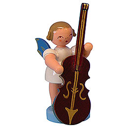 Angel with Plucked Bass - Blue Wings - Standing - 6 cm / 2,3 inch