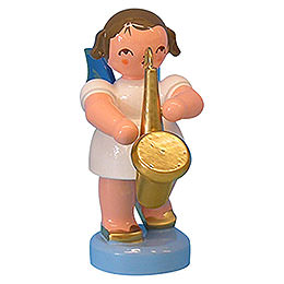 Angel with Saxophone - Blue Wings - Standing - 6 cm / 2,3 inch