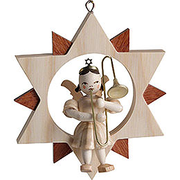 Angel with Slide Trombone in Star, Natural - 9 cm / 3.5 inch