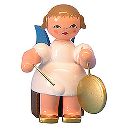 Angel with Small Gong - Blue Wings - Sitting - 5 cm / 2 inch