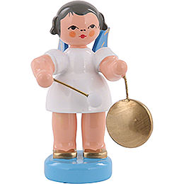 Angel with Small Gong - Blue Wings - Standing - 6 cm / 2,3 inch
