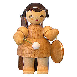 Angel with Small Gong - Natural Colors - Sitting - 5 cm / 2 inch