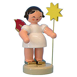 Angel with Star - Red Wings - Standing - 6 cm / 2,3 inch