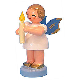 Angel with Torch - Blue Wings - Standing - 6 cm / 2,3 inch