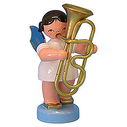 Angel with Tuba - Blue Wings - Standing - 6 cm / 2,3 inch