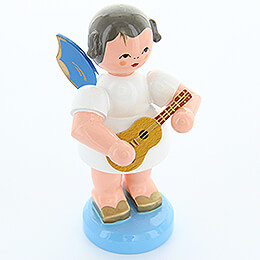 Angel with Ukulele - Blue Wings - Standing - 9,5 cm / 3.7 inch