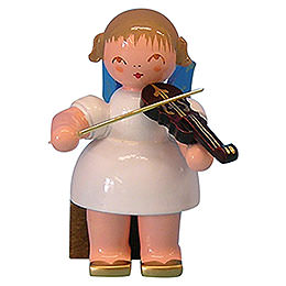 Angel with Violin - Blue Wings - Sitting - 5 cm / 2 inch