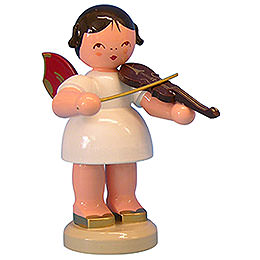 Angel with Violin - Red Wings - Standing - 9,5 cm / 3,7 inch