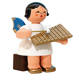 Angel with Xylophone - Blue Wings - Sitting - 5 cm / 2 inch