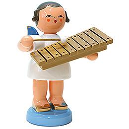 Angel with Xylophone - Blue Wings - Standing - 9,5 cm / 3.7 inch