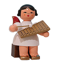 Angel with Xylophone - Red Wings - Sitting - 5 cm / 2 inch