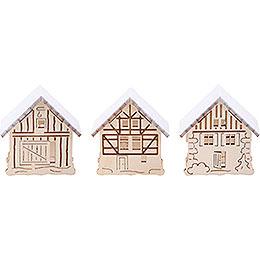 Aufsteckhäuser verschneit - 3er-Set - 5,5x5 cm