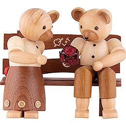 Bärenpaar auf Bank - 10 cm
