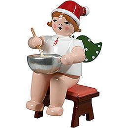 Bäckerengel sitzend mit Mütze und Teigschüssel - 6,5 cm