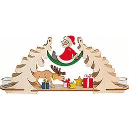 Bastelset Teelichtbogen Weihnachtsmann mit Elch - 12 cm