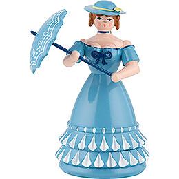 Biedermeierfrau in blau mit Schirm - 11 cm